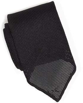 Drakes Drake's Solid Black Grenadine Tie