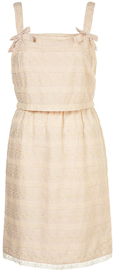 Tiered Embroidered Shift Dress