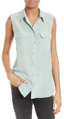 Women's Equipment 'Slim Signature' Sleeveless Silk Shirt $188 thestylecure.com