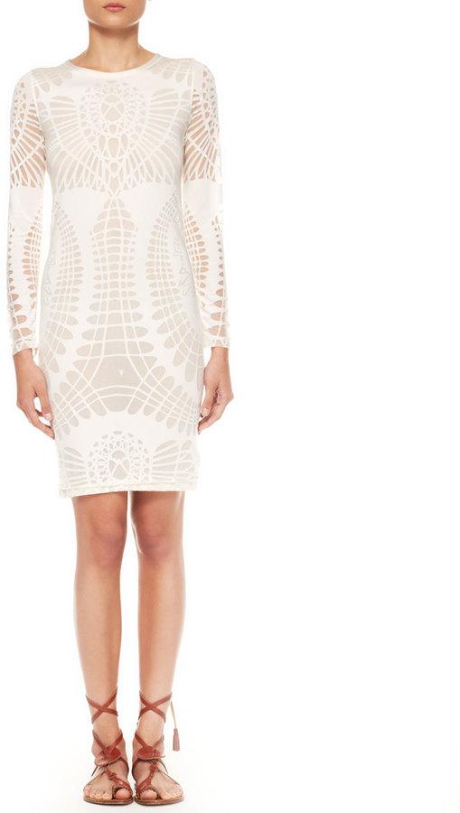 Jean Paul Gaultier Long-Sleeve Cutout Sheath Dress, Off-White