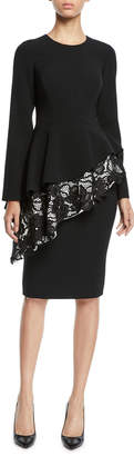 Pamella Roland Long-Sleeve Tiered Lace Peplum Dress