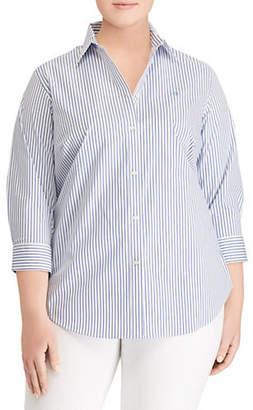 Lauren Ralph Lauren Plus Stretch Striped Shirt