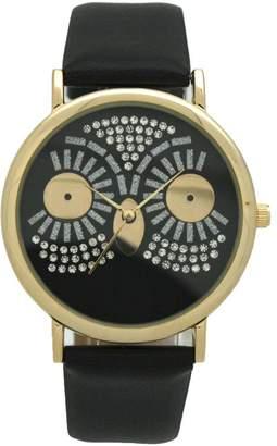 Olivia Pratt Oliva Pratt Women's Sparkly Owl Black Leather Watch