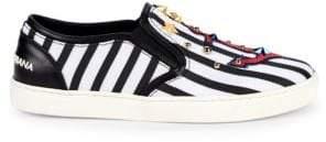 Dolce & Gabbana Studded Stripe Slip-On Sneakers
