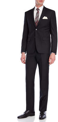 DKNY Two-Piece Solid Black Wool Suit
