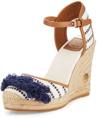 Tory Burch Shaw Striped Espadrille Wedge Pump, Light Natural/Navy Sea/Royal Tan $250 thestylecure.com