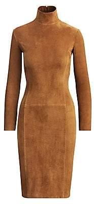 Ralph Lauren Women's Rosalia Stretch Suede Turtleneck Dress