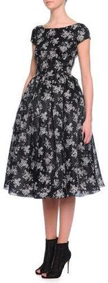 Dolce & Gabbana Cap-Sleeve Mini Floral-Print Dress