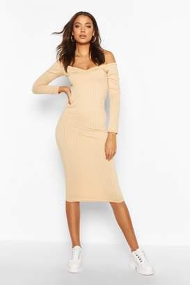boohoo Tall Rib V-Neck Off The Shoulder Midi Dress