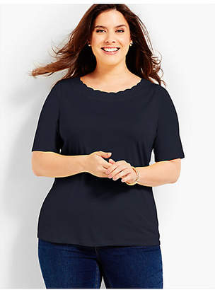 Talbots Scallop-Neck Elbow-Sleeve Tee