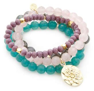 Good Charma Set Of 4 Lotus Charm Bracelets
