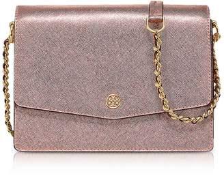 Tory Burch Metallic Light Rose Gold Robinson Metallic Convertible Shoulder Bag