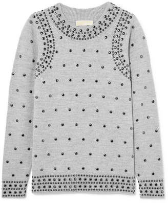 MICHAEL Michael Kors Studded Wool And Alpaca-blend Sweater - Gray