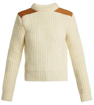 Saint Laurent Suede Trim Ribbed Wool Sweater - Womens - Ivory