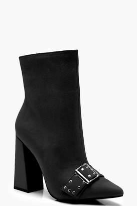 boohoo Buckle Strap Flare Heel Shoe Boots