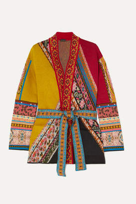 Etro Belted Wool-blend Jacquard Cardigan - Orange