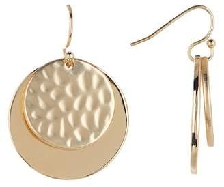 Halogen Hammered Double Disc Drop Earrings