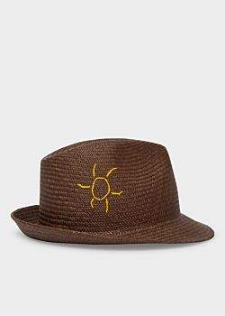 Paul Smith Men's Brown 'Smile' And 'Sun' Embroidered Panama Straw Hat