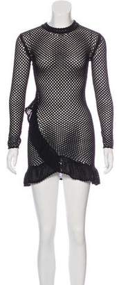 IRO Crocheted Ruffle Mini Dress