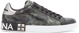 Dolce & Gabbana Camouflage Print Low Top Leather Trainers - Mens - Green Multi