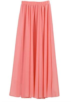 IBTOM CASTLE Women Elastic Pleated Retro Maxi Chiffon Long Ethereal Skater Flare Skirt Beach Dress M