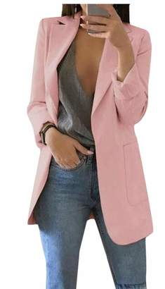 jxfd Women's Stretch Open Front Casual Long Sleeve Office Blazer Work Jacket M