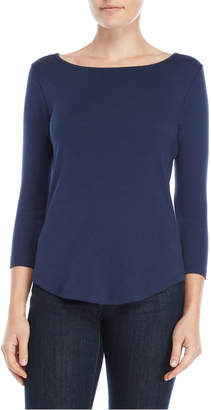 Lilla P Navy Three-Quarter Sleeve Tee