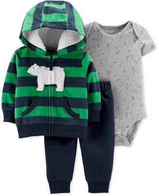 Carter's Carter Baby Boys 3-Pc. Striped Fleece Hoodie, Printed Bodysuit & Pants Set
