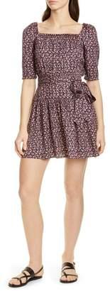 Rebecca Taylor Francesca Square Neck Silk Blend Dress