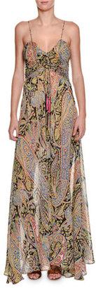 Etro Fleur d'Oranger Sleeveless Printed Gown, Black/Multi $2,260 thestylecure.com