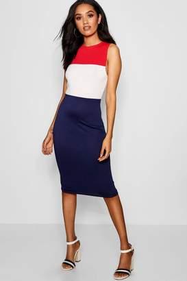 boohoo Petite Colour Block Stripe Midi Dress