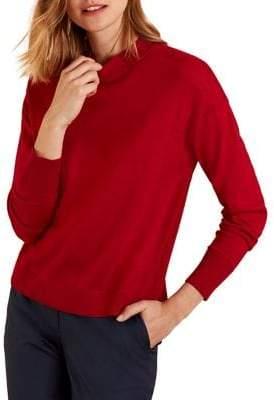 Brooks Brothers Red Fleece Merino Wool Pointelle Crewneck Sweater