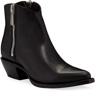 Frye Sacha Leather Zip Shortie Boots
