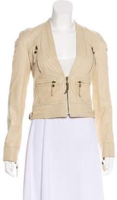 Just Cavalli Leather Collarless Jacket