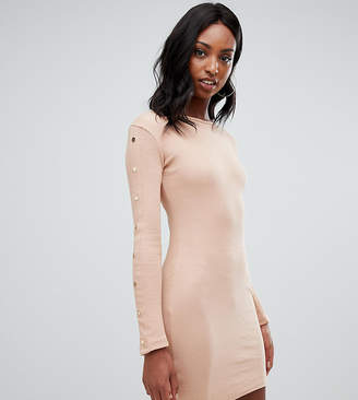 Missguided Tall popper sleeve mini dress in camel