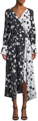 Equipment Neema Long-Sleeve Abstract Floral-Print Long Wrap Dress
