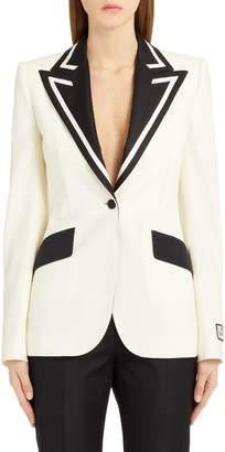 Dolce & Gabbana Contrast Lapel Stretch Wool & Silk Blazer
