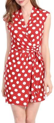Allegra K Women's Dots Sleeveless Tie Waist Above Knee Wrap Dress S Red White