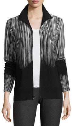 Norma Kamali Printed Turtleneck Zip-Front Jacket, Fringe $295 thestylecure.com