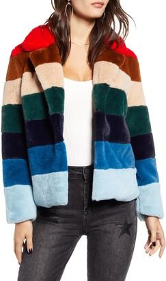 Blank NYC Blanknyc Stripe Faux Fur Jacket
