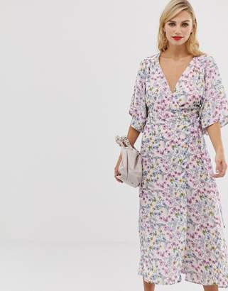 3b0fc734f7 Liquorish floral maxi wrap dress with fluted sleeves