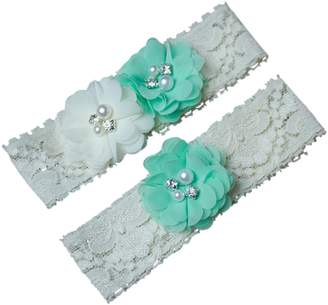 The Pink Bunny Garters Mint Green and Ivory Wedding Garter Set