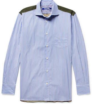 Junya Watanabe Panelled Cotton-Poplin And Camouflage-Print Ripstop Shirt