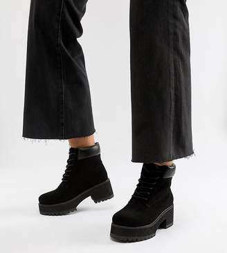 08423896beda Asos Design DESIGN Wide Fit Bianca chunky lace up boots