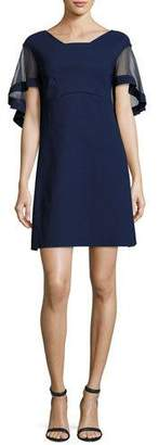Chiara Boni Jason Flutter-Sleeve Cocktail Dress, Navy