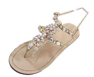 Tootu Shoes New Promotions! Tootu Womens Summer Flat Shining Rhinestones Chain Sandals T-Strap Comfortable Shoes