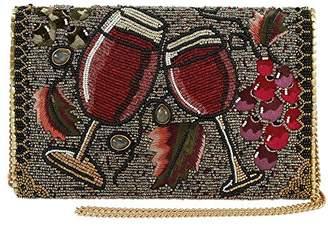 Mary Frances Vino Beaded Wine Glasses and Grapes Crossbody Clutch Handbag