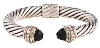 David Yurman Onyx & Diamond Cable Bracelet