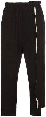By Walid Morton cut 'n' sew trousers with asymmetric fray detailing