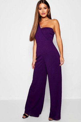 boohoo Petite One Shoulder Cross Over Jumpsuit